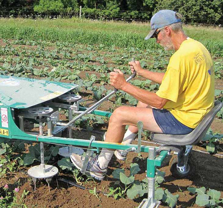 man sitting on eco-weeder tool