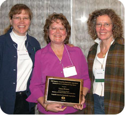 Laura Krouse, center, with Laura Jackson and Susan Jutz