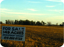 For sale sign on rural land